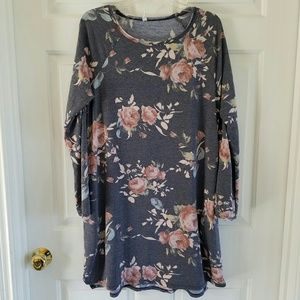 Pink Blush/ distressed gray floral dress